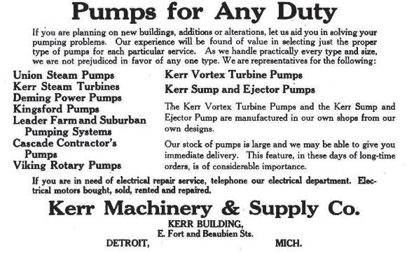First ad for Kerr Machinery & Supply in which Viking's rotary pumps appeared, after signing on as a distributor in 1917 (published in Michigan Manufacturer & Financial Record).